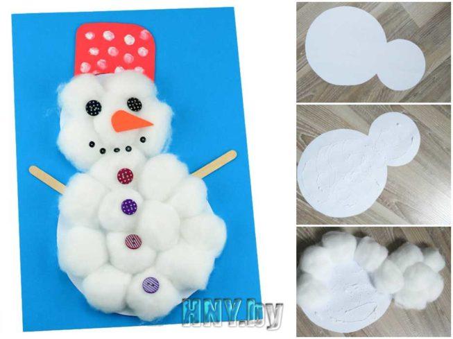 Снеговик из ваты и картона